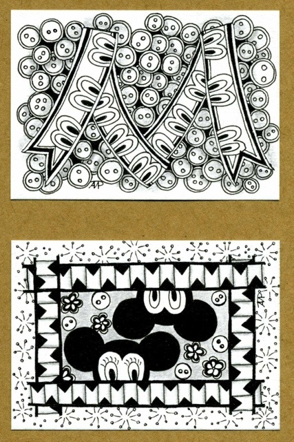 Rita Nikolajeva, CZT; dotslinespatterns.com; tangle ATC